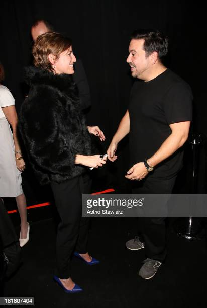 Glamour Editorinchief Cindi Leive and designer Narciso Rodriguez backstage at the Narciso Rodriguez Fall 2013 fashion show during MercedesBenz...