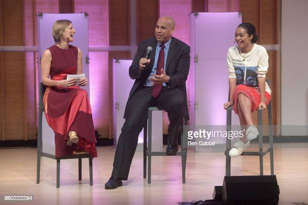 Glamour editorinchief Cindi Leive New Jersey Senator Cory Booker and Actress Yara Shahidi speak onstage during Glamour's 'The Girl Project' on the...