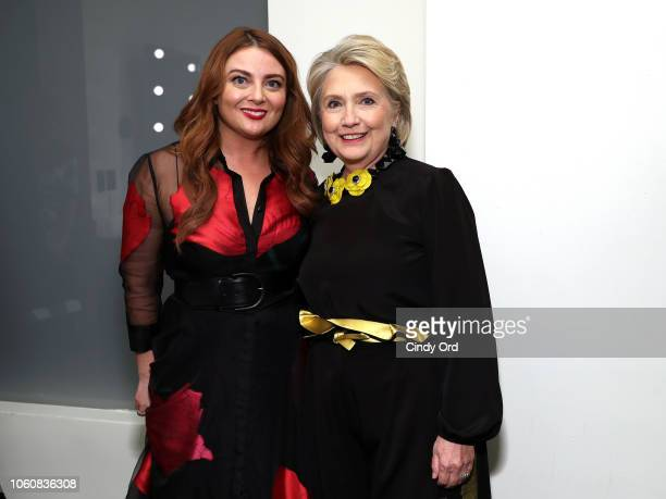 Glamour EditorinChief Samantha Barry and Hillary Clinton pose backstage at the 2018 Glamour Women Of The Year Awards Women Rise on November 12 2018...
