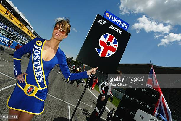 Glamour grid girl before the San Marino F1 Grand Prix on April 25 at the San Marino circuit in Imola Italy