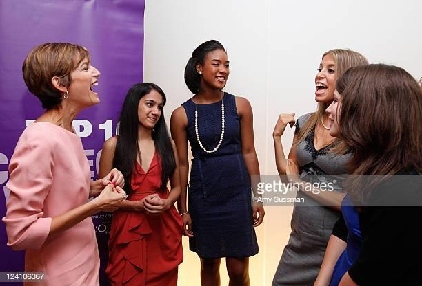 Glamour magazine EditorinChief Cynthia Leive talks with honorees Isha Jain Amber Koonce Jordana Alter Confino and Ally Bain at the Glamour magazine...
