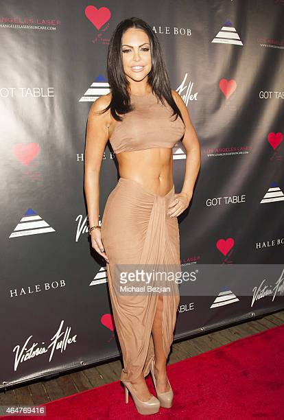 Glamour Model Jessica Cribbon attends Caroline Burt DJs At Victoria Fuller's The Beauty Code Art Show at The Redbury Hotel on February 25 2015 in...