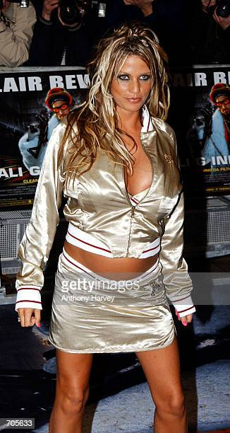 Glamour Model Jordan arrives at the premiere of Ali Gs new film Inda House March 20 2002 in London