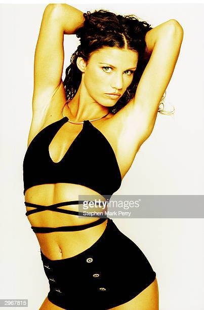 Glamour model Jordan real name Katie Price poses at her first test photoshoot having been signed to her first agency Samantha Bond in July 1996 in...
