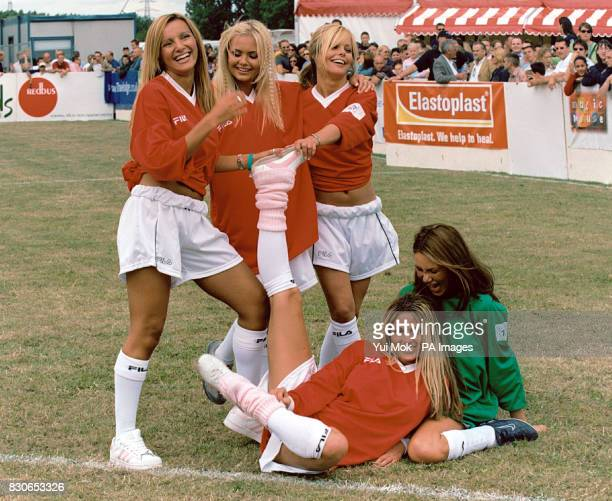 Glamour model Jordan with her celebrity 'Page 3 Girls' team in action during the UK National 5aside football tournament held at Hackney Marshes in...