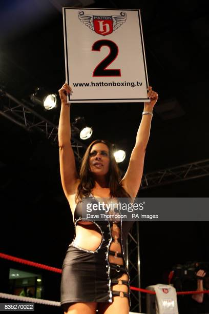 Glamour model Linsey Dawn McKenzie during the Welterweight bout at Altrincham Leisure Centre Altrincham