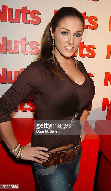 Glamour model Lucy Pinder attends the 1st Birthday party for Nuts Magazine at Trap Wardour Street on January 20 2005 in London