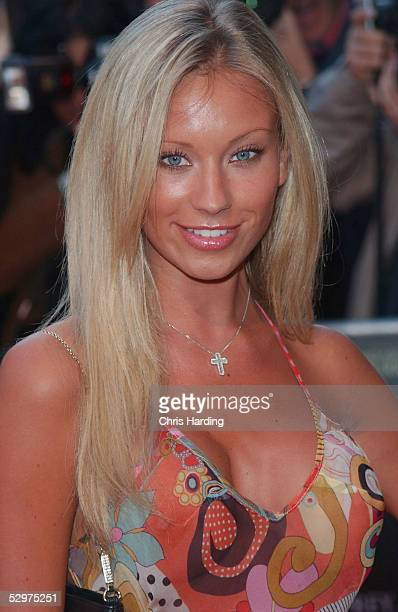 Glamour model Natalie Denning arrives at the UK Premiere of House of Wax at Vue Leicester Square on May 24 2005 in London England