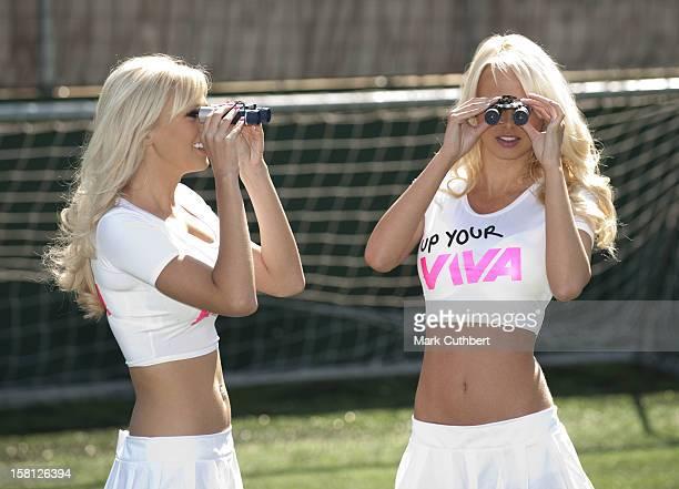 Glamour Model Rhian Sugden And Big Brother Winner Sophie Reade Launch Binocular Football In London.