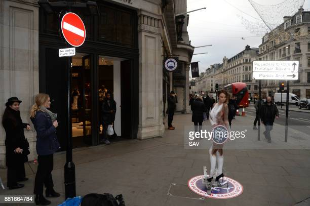 Glamour model Rhian Sugden joins PETA's campaign protesting Canada Goose's use of fur outside the Canada Goose store on Regent's Street November 29...