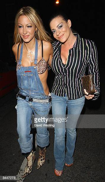 Glamour Models Jodie Marsh and Lyndsay Dawn McKenzie attend Linda Robsons's fundraising party at The Living Room April 19, 2004 in London. Blue and...
