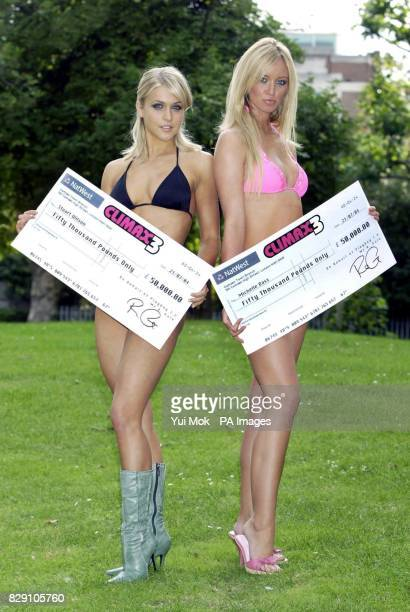 Glamour models Kayleigh Pearson and Lauren Pope during a photocall in Camden north London to announce the 100000 offer by Climax3 three new channels...