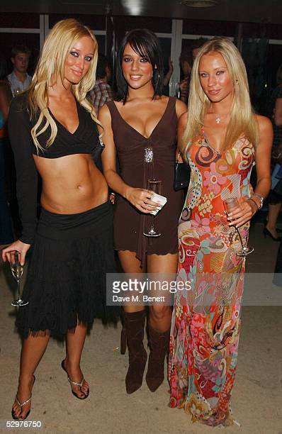 Glamour models Lauren Pope Emma Davis and Natalie Denning attend the aftershow party following the UK Premiere of House of Wax at Penthouse Leicester...