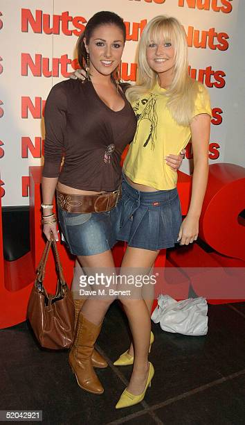 Glamour models Lucy Pinder and Michelle Marsh attend the 1st Birthday party for Nuts Magazine at Trap Wardour Street on January 20 2005 in London
