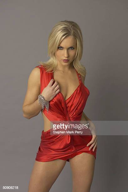 Glamour modelturned singer Kayleigh Pearson of new girl band Glam'R'Us poses ahead of the release of their first track Our Boys at a London studio on...