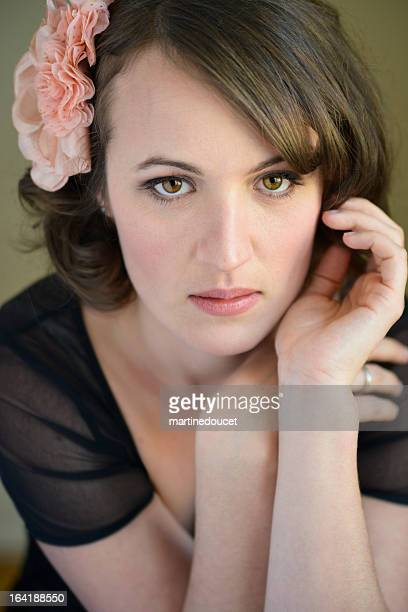 Glamour portrait of real woman in her thirties, vertical