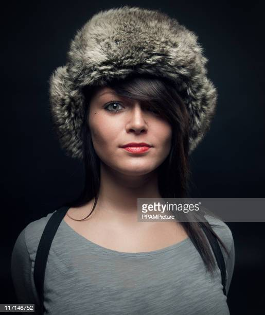 Glamourous woman wearing fur hat