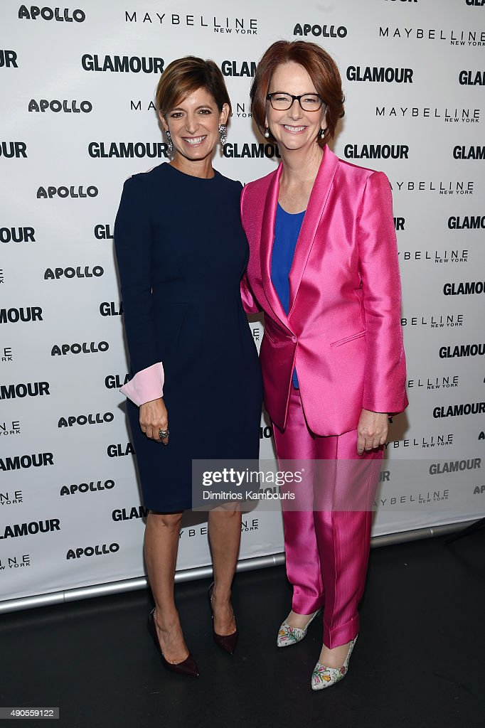 Glamour's Editor-in-Chief Cindi Leive (L) and Former Australian Prime Minister Julia Gillard join Glamour 'The Power Of An Educated Girl' panel at The Apollo Theater on September 29, 2015 in New York City.