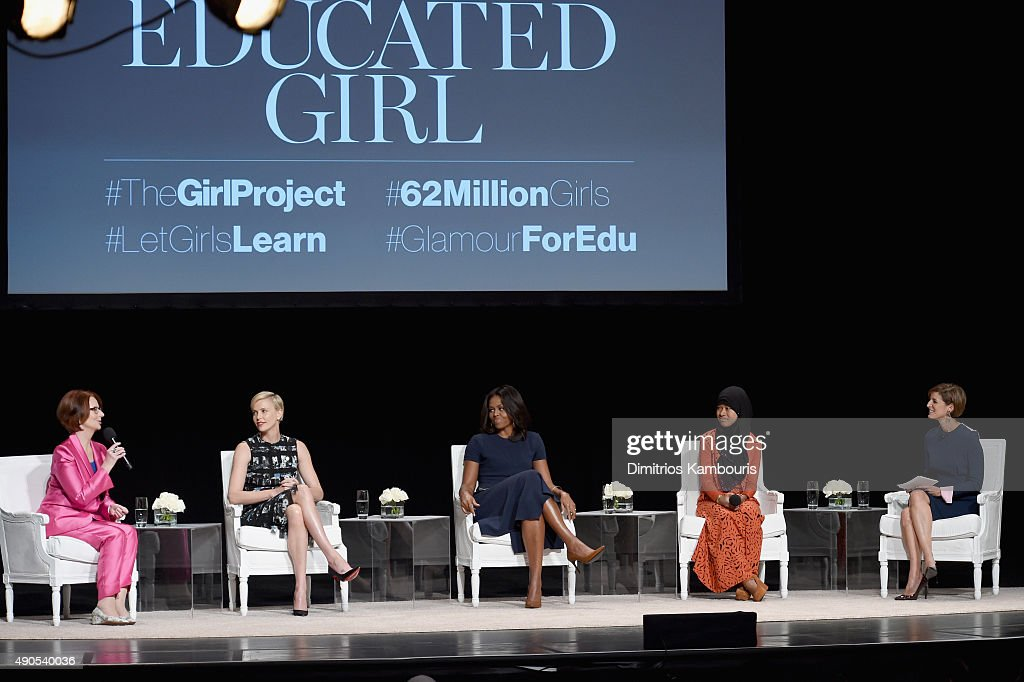 Glamour's Editor-in-Chief Cindi Leive (R) led a panel discussion with Former Australian Prime Minister Julia Gillard, Founder of Charlize Theron Africa Outreach Project and U.N. Messenger of Peace Charlize Theron, First Lady of the United States Michelle Obama and Girl ambassador from Plan International Nurfahada during Glamour 'The Power Of An Educated Girl' at The Apollo Theater on September 29, 2015 in New York City.
