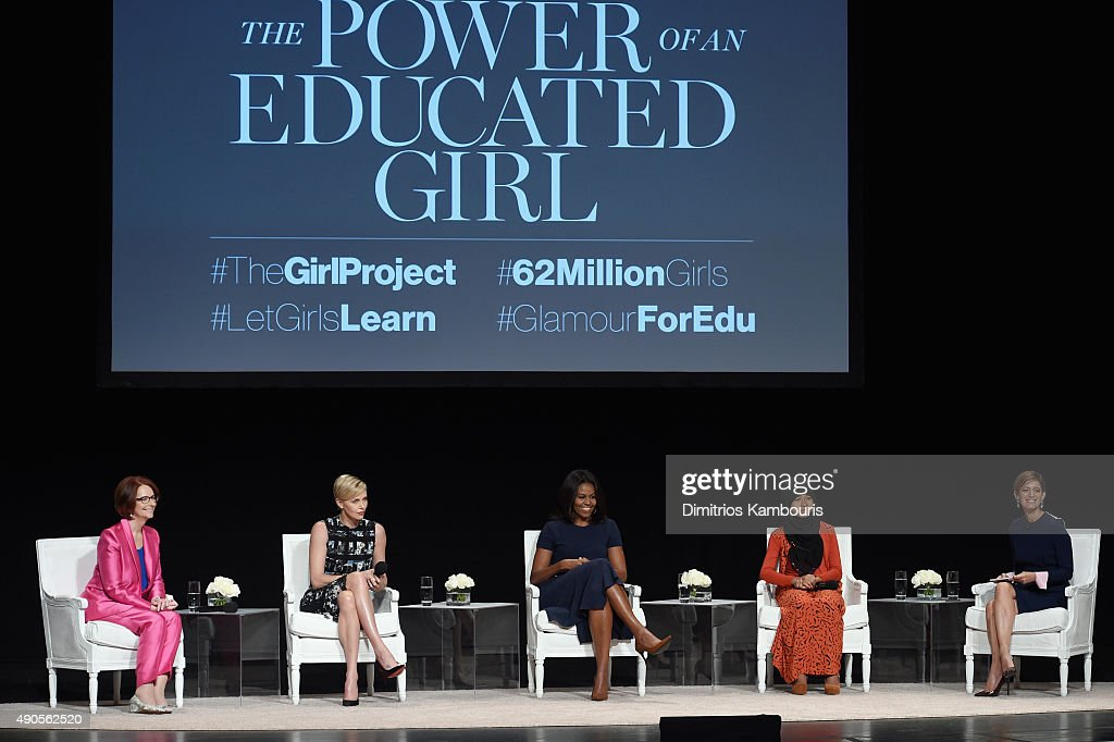 Glamour's Editor-in-Chief Cindi Leive (R) led a panel discussion with Founder of Charlize Theron Africa Outreach Project and U.N. Messenger of Peace Charlize Theron, First Lady of the United States Michelle Obama and Girl ambassador from Plan International Nurfahada during Glamour 'The Power Of An Educated Girl' at The Apollo Theater on September 29, 2015 in New York City.