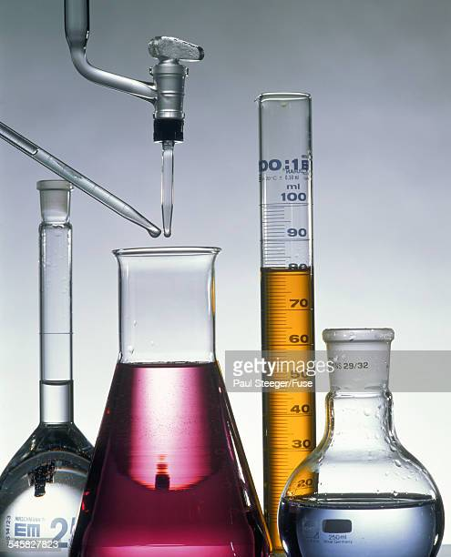 Glas flasks in a chemical laboratory