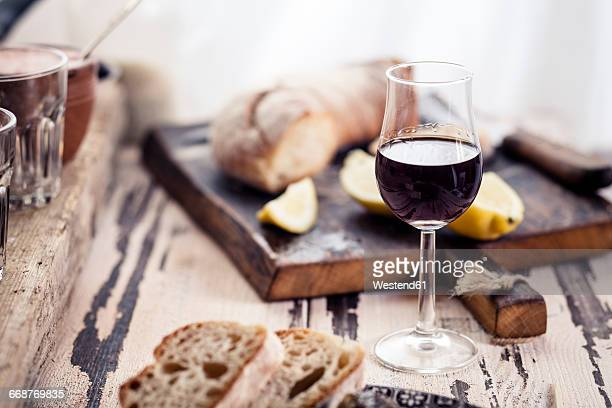 Glas of fortified wine and bread