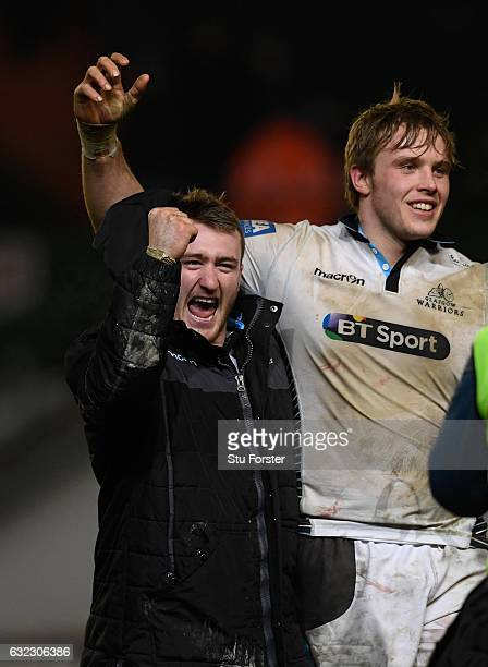 Glasgow captain Jonny Gray and Stuart Hogg celebrate after the European Rugby Champions Cup match between Leicester Tigers and Glasgow Warriors at...
