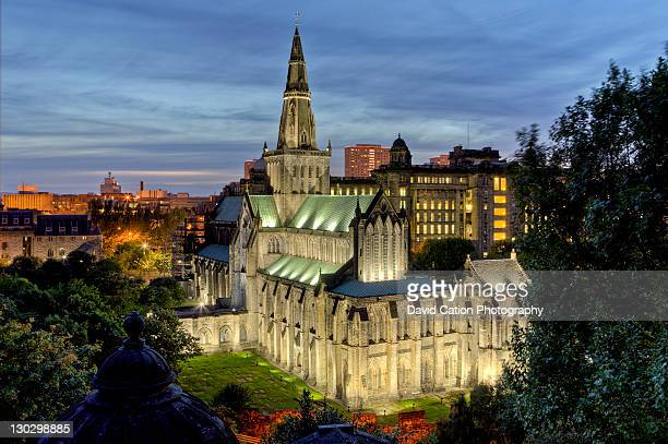 glasgow cathedral from necropolis - cathedral stock pictures, royalty-free photos & images