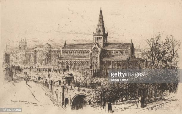 Glasgow Cathedral, Sir David Young Cameron, 1865–1945, British Etching, architectural subject, bridge , cathedral, church, church tower, cityscape,...