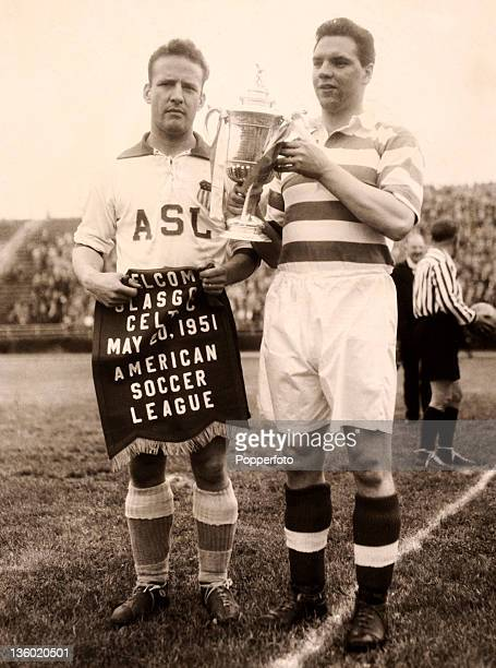 Glasgow Celtic captain John McPhail with his American counterpart prior to the match against the American All Stars soccer team at Triborough Stadium...
