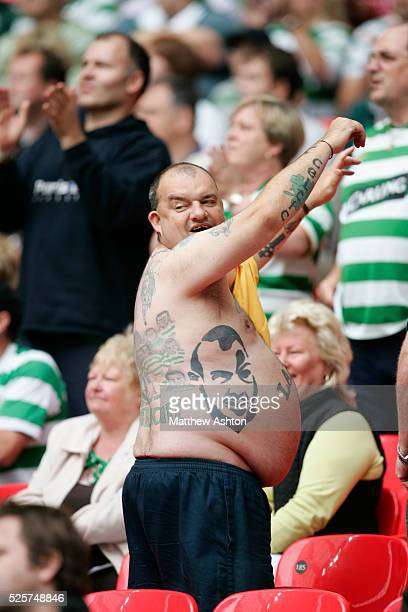 A Glasgow Celtic fan with tattoos of former player Henrik Larsson