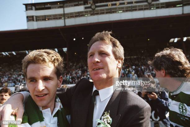 Glasgow Celtic manager Billy McNeill and players Chris Morris and Roy Aitken celebrate after the 1988 Scottish Cup Final victory against Dundee...