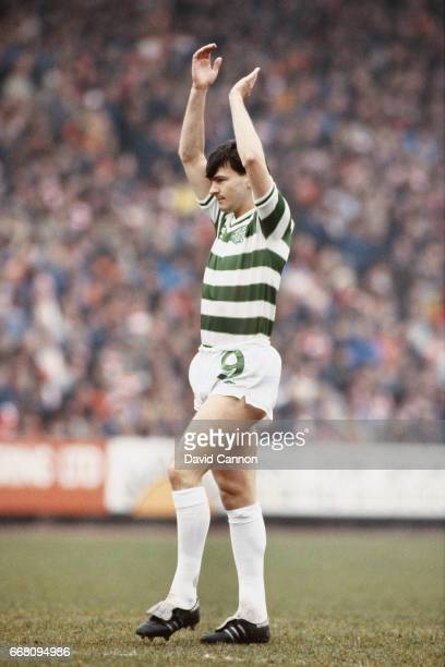Glasgow Celtic striker Charlie Nicholas applauds the fans before a Scottish League match circa 1983 in Glasgow Scotland