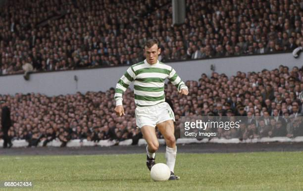 Glasgow Celtic winger Bobby Lennox in action during a friendly match against Tottenham Hotspur at Hampden Park on August 5 1967 in Glasgow Scotland