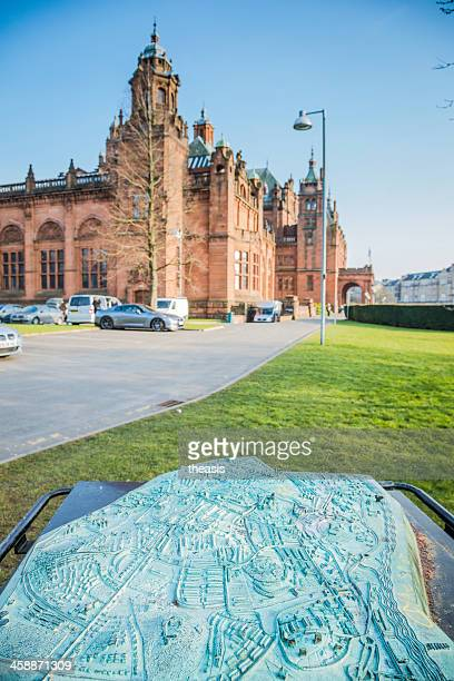 glasgow map at the kelvingrove museum and gallery - kelvingrove art gallery and museum stock pictures, royalty-free photos & images