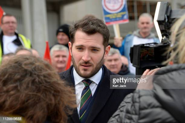 Glasgow North East MP Paul Sweeney is interviewed as he joins demonstrators from the Unite union outside the Scotish Parliament, calling on the...