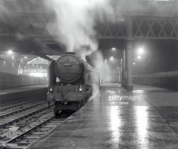 Glasgow Queen Street Station, 6 July 1960. The steam locomotive 'Highland Chieftain', Class A2 4-6-2, Number 60507, is setting out on the 2200 hours...