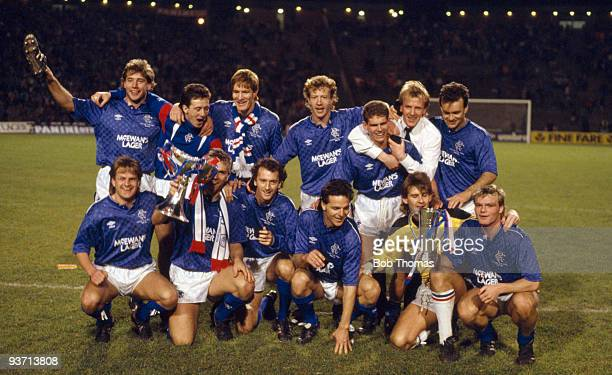 Glasgow Rangers celebrate their victory over Aberdeen in the Skol Cup Final held at Hampden Park Glasgow on the 25th October 1987 The match ended in...