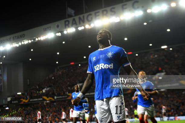 Glasgow Rangers' English forward Sheyi Ojo celebrates after scoring the opening goal of the UEFA Europa League Group G football match between Rangers...