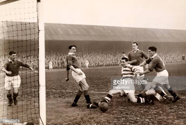 Glasgow Rangers goalkeeper Billy Ritchie is on the ground and Glasgow Celtic's Neil Mochan has an open goal until Willie Telfer came to Rangers'...