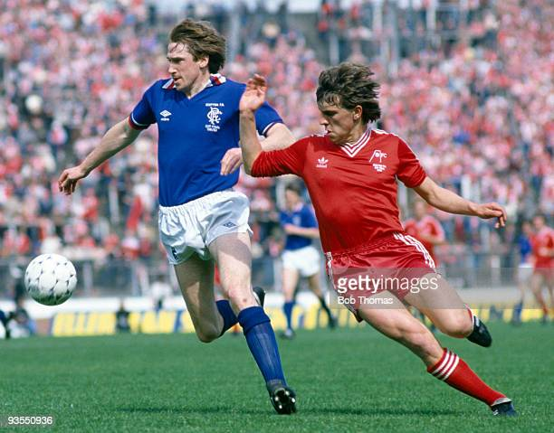 Glasgow Rangers' John McLelland fends of Aberdeen's John Hewitt during the Scottish FA Cup Final held at Hampden Park Glasgow on 22nd May 1982...