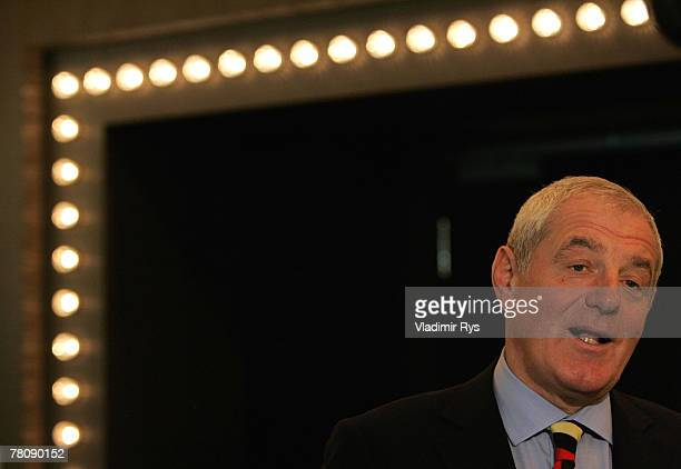Glasgow Rangers manager Walter Smith gives interview after the press conference at the Moevenpick Stuttgart Airport Hotel on November 26 2007 in...