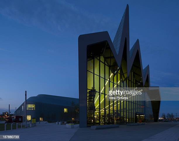 Glasgow Riverside Museum Zaha Hadid Architects Night Time Exterior Wide View Of Riverside Facade Zaha Hadid Architects United Kingdom Architect