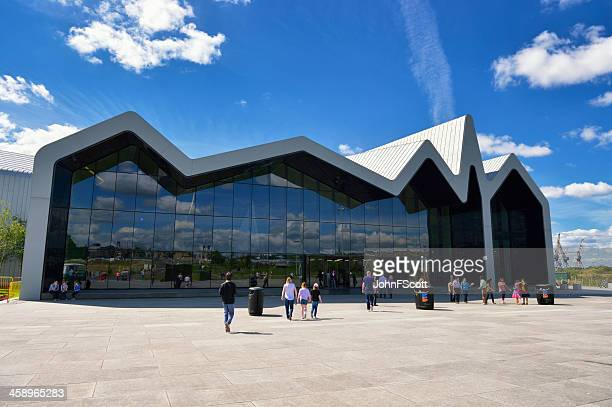 glasgow riverside transport museum on a bright sunny day - glasgow scotland stock photos and pictures