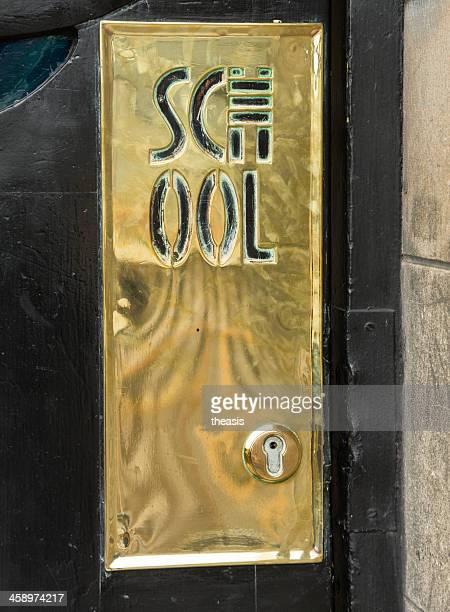 glasgow school of art brass door plate - theasis stockfoto's en -beelden