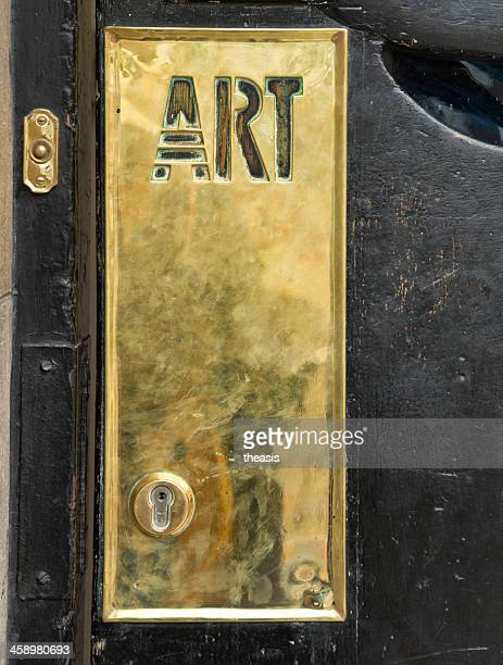 glasgow school of art brass door plate - theasis stock pictures, royalty-free photos & images