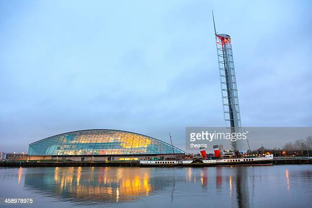 glasgow science centre and paddle steamer - theasis stock pictures, royalty-free photos & images