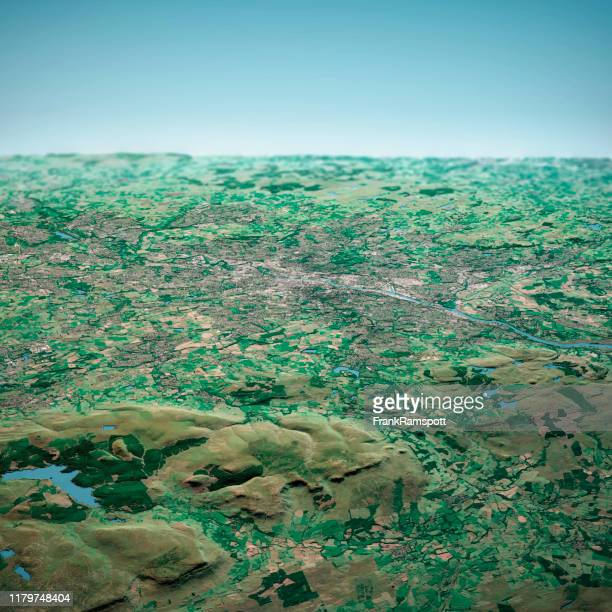 glasgow scotland 3d render aerial horizon view from north sep 2019 - frankramspott stock pictures, royalty-free photos & images