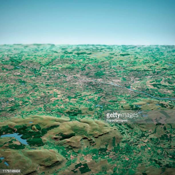 glasgow scotland 3d render aerial horizon view from north sep 2019 - frank ramspott imagens e fotografias de stock