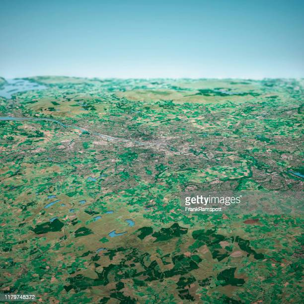 glasgow schottland 3d render aerial horizon view from south sep 2019 - frankramspott stock-fotos und bilder